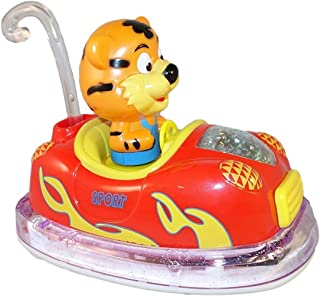 ATS Bumper Car with Animal Figure Driver (Tiger or Lion) with Bright LED Lights and Catchy Music, Bump and Go Dodgem Car Toy with Swinging Body for Kids