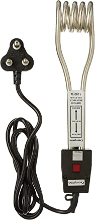 Crompton CG-IHL 152 1500-Watt Immersion Water Heater (Black), Compatible with 16A Socket only