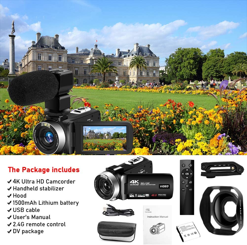 4K Camcorder Videokamera 48.0MP18X Ultra HD Vlogging Kamera Digitale Zoom Camcorder mit wiederaufladbarem externem Mikrofon Stabilisator Handheld und Haube