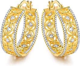 Barzel 18k Gold Plated Filigree Flower Lace Cubic Zirconia 24mm Hoop Earrings