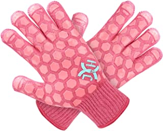 JH Heat Resistant Oven Glove: EN407 Certified 932 �F, 2 Layers Silicone Coating, Coral Shell with Pink Coating, BBQ & Oven Mitts For Cooking, Kitchen, Fireplace, Grilling, 1 Pair, Women Fits All