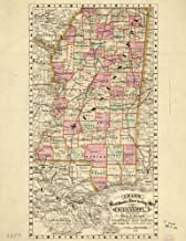 1878 map Cram's Railroad & Township map of Mississippi Size 18x24 - Ready to Frame  Mississippi 
