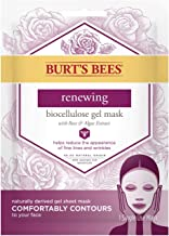 Burt's Bees Renewing Biocellulose Gel Face Mask with Rose & Algae Extract, Single Use Sheet Mask, 6 Count