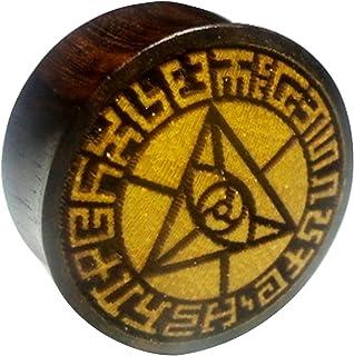 Chic-Net Flesh Plug occhio triangolare, bordo in legno di sono, frutto della giacca, dilatatore, dilatatore, unisex, marro...