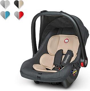 Lionelo Noa Plus Auto Kindersitz Babyschalle ab Geburt bis 13 kg Fußabdeckung Sonnendach leichte Konstruktion 3-Punkt-Sicherheitsgurt abnehmbarer Polsterbezug Beige