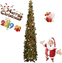 BengPro Collapsible Christmas Tinsel Trees 5 Foot Artificial Xmas Halloween Costume Tree, Pop Up Multicolored Pencil Sequi...