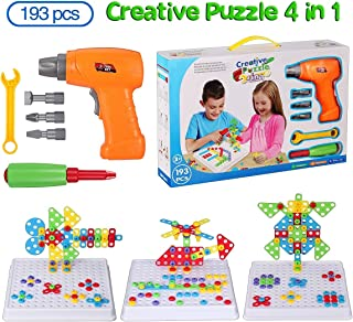 Haifeng Educational Toys Drill Stem Learning Creative Design Kit Original 193 Piece Construction Engineering Building Blocks Creative Fun Kit for 3, 4 and 5+ Year Old Boys & Girls Best Toys Gift