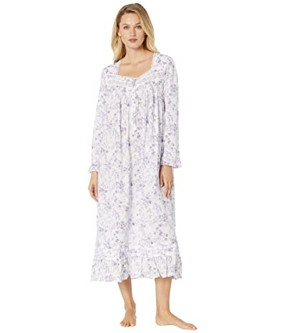 Eileen West Cotton Lawn Woven Long Sleeve Ballet Nightgown (White Ground/Lavender Floral) Women