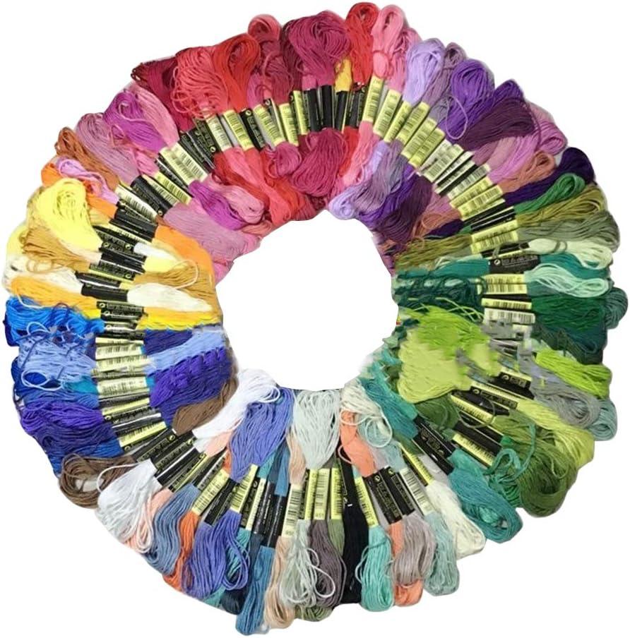 CXZC 24 Hilos de Bordado de madejas, algod/ón Bordado Punto de Cruz Colores del Arco Iris para Pulseras de la Amistad