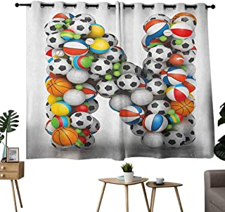 Wlkecgi Exquisite Curtain Letter N Sports Equipment Football Volleyball Tennis Ball Capital N Symbol Alphabet Design Multicolor Noise Reducing Curtain W63 xL45