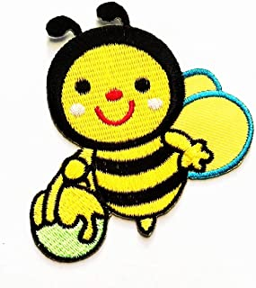 Nipitshop Patches Yellow Honey Bucket Cute Bee Animal Cartoon Kid Embroidery Patches Sew On Patches Applique for Clothes Jackets T-Shirt Jeans Skirt Vests Scarf Hat Backpacks