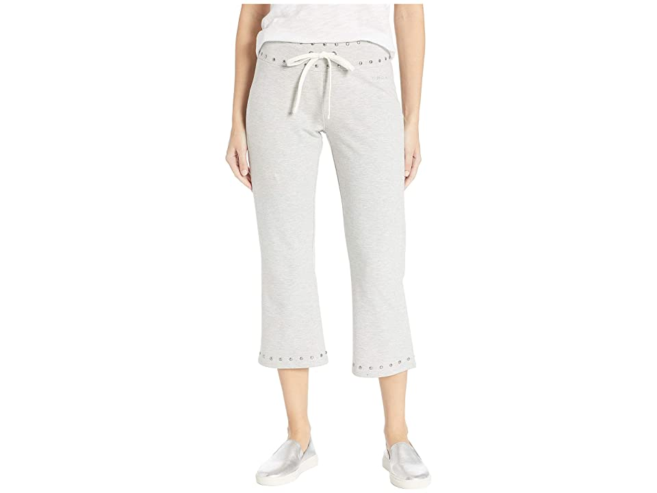 Bebe Studded Flare Capris Pants (Heather Grey) Women