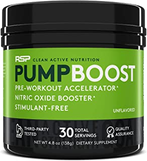 RSP Pump Boost - Stimulant Free Pre Workout & Nitric Oxide Booster, N.O. Boost for Enhanced Pumps, Energy Boost, and Improved Training Endurance, Unflavored (Packaging May Vary)