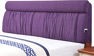 Bed Headboard Cover Thicken Cotton Filling Rebound Sponge Dustproof Bed Head Covers for Headboard Decoration (Color : Purple, Size : 120x60cm)