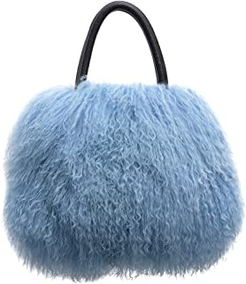 URSFUR Women's Mongolian Lamb Fur Handbag Ladies Winter Shoulder Tote Bags Girls