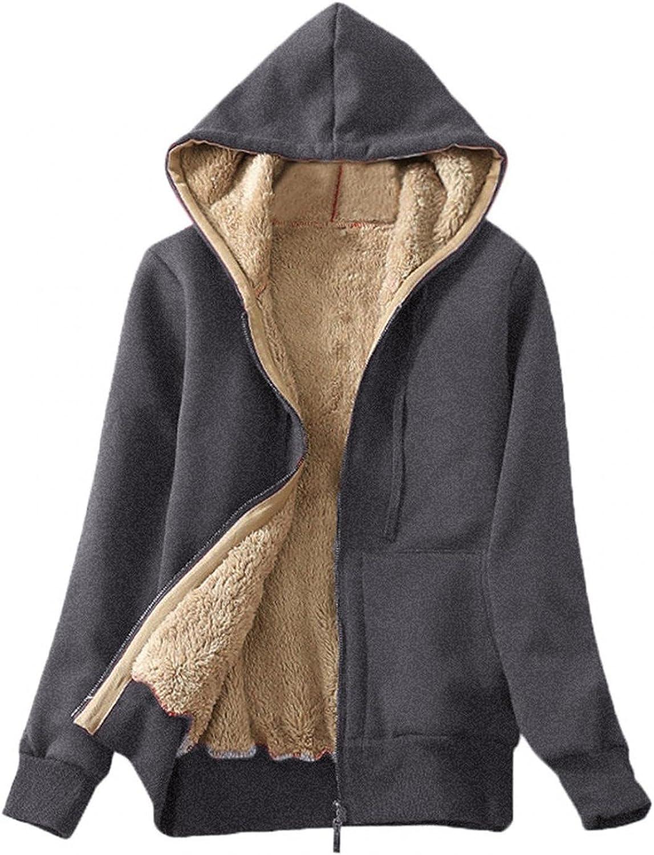 Full Zip Up Thick Sherpa Lined Hoodies Jacket for Women, Warm Winter Fleece Sweatshirt Plus Size Casual Coat