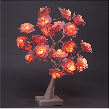 Pink Snokip LED Rose Flower Tree Lamp 32 LED Artificial Bonsai Tree Night Light Great Decoration for Home Valentines Day Thanksgiving Christmas Wedding Party Warm White