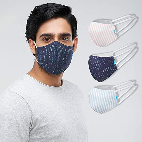 Welspun Health Anti Bacterial Reusable Cotton Mask 3Pc With Free Mask fit Adjuster