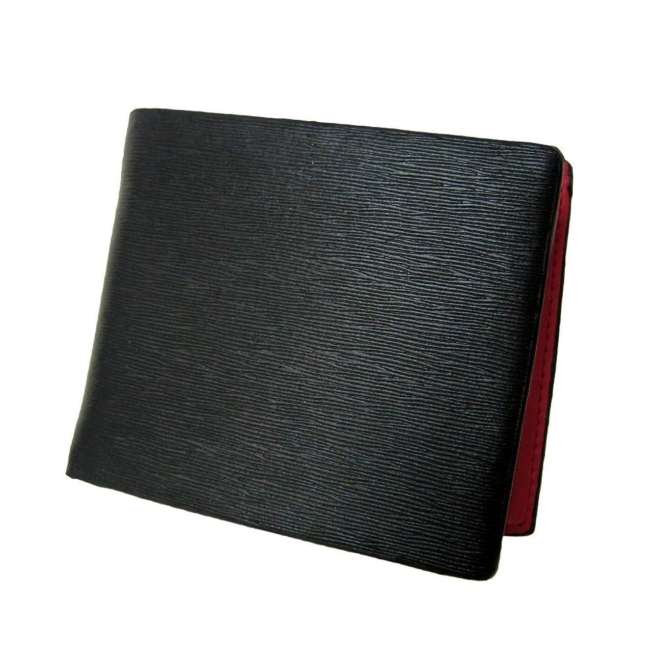 ウィンク繊細請求書[マトゥーリ]Maturi 牛革 プレミアムレザー 二つ折り財布 MR-053 BK×RD