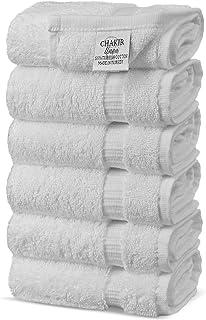 Chakir Turkish Linens, Luxury Hotel & Spa 100% Cotton Premium Turkish Hand Towels, 16'' x 30'' (Set of 6, White), HC-WC-GR...