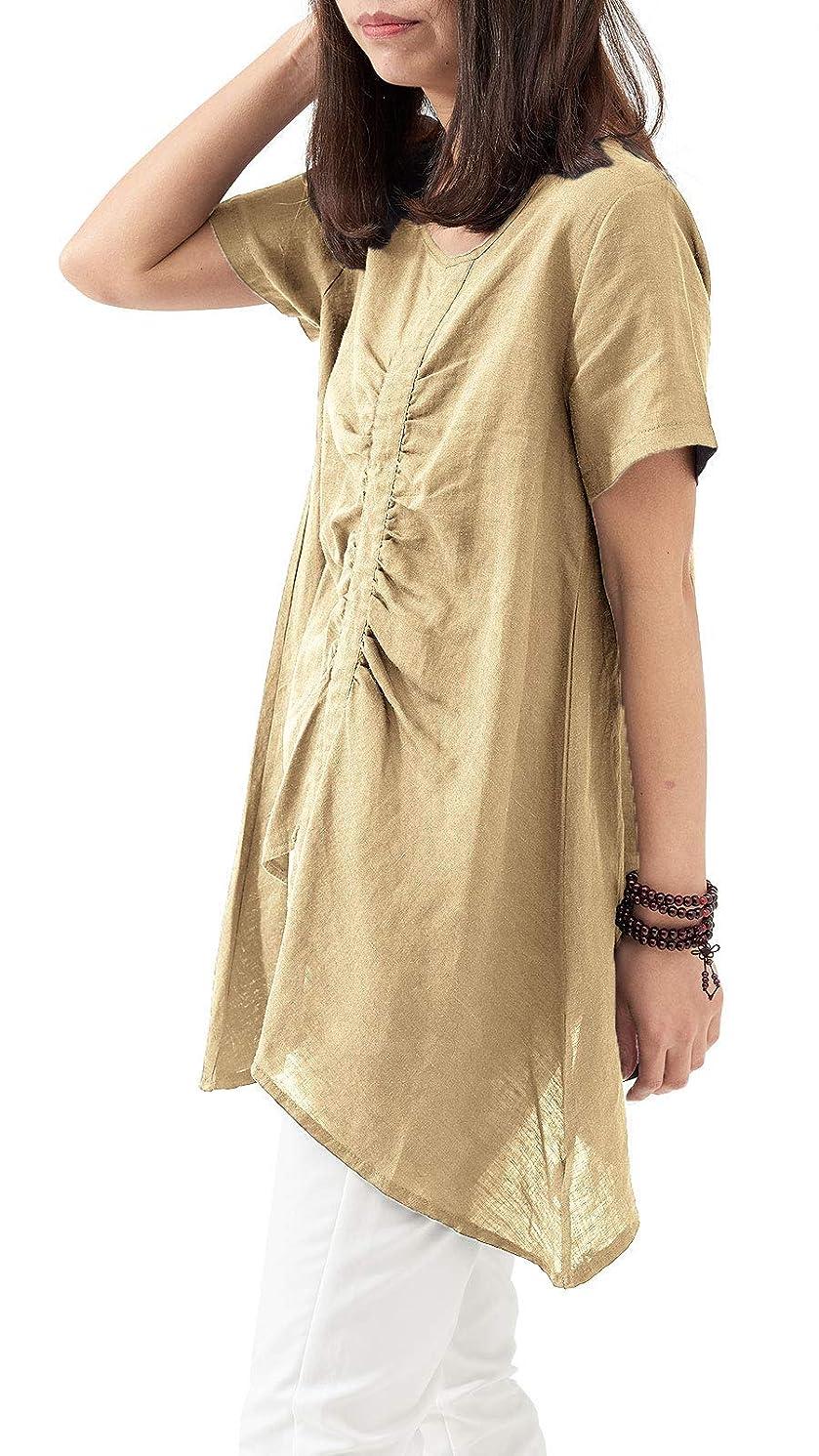 Les umes Women's Plus A Line Cotton Linen T-Shirt Tops Short Sleeves Irregular Blouse