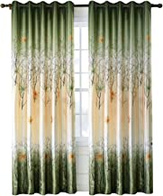 Green Maple Leaf Tree Curtains - Anady 2 Panel Grommet Top Country Drapes 42W 96L(Customized Available)