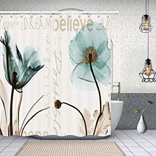 Rustic Elegant Teal Tulip Flower Shower Curtains, Vintage Spring Floral Tulip Flowers in Beige, Polyester Fabric Waterproof Xray Flower Shower Curtain, Bathroom Accessory Sets, Hooks Included, 70X70in