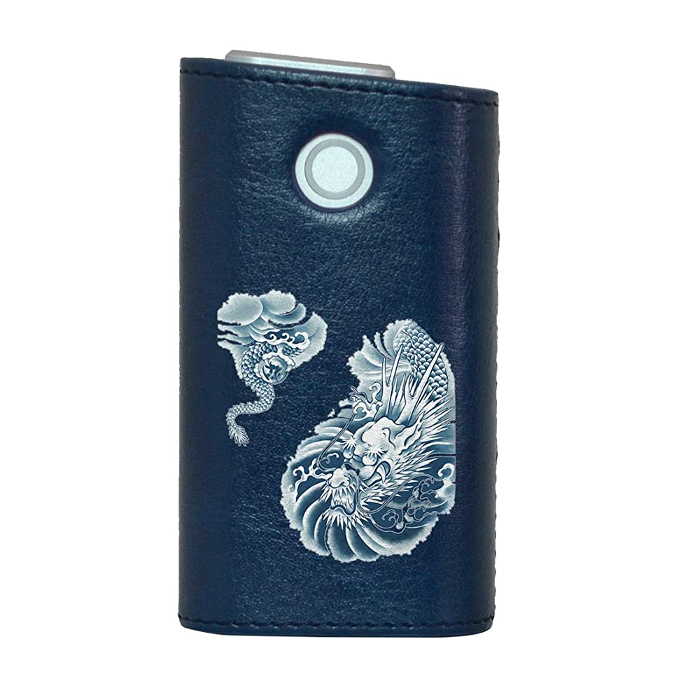 有名人十分にボンドglo グロー グロウ 専用 レザーケース レザーカバー タバコ ケース カバー 合皮 ハードケース カバー 収納 デザイン 革 皮 BLUE ブルー クール 龍 ドラゴン 和 001218