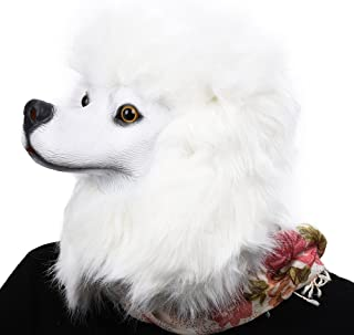 PARTY STORY Poodle Dog Mask Latex Animal Full Head Mask Novelty Halloween Costume Rubber Masks