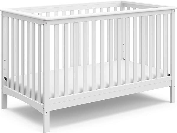 Storkcraft 希尔克雷斯特 (Hillcrest) 固定式可转换婴儿床 (白色),可轻松转换为学步床、日间床或全床 (三个位置可调高度床垫),不包括一些组装所需的床垫。