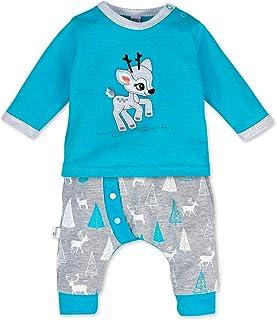 Koala Baby Koala Baby Baby Set Shirt  Hose blau grau | Motiv: Reh | Babyset 2 Teile mit Rehkitz für Neugeborene & Kleinkinder | Größe: 1 Monat 56