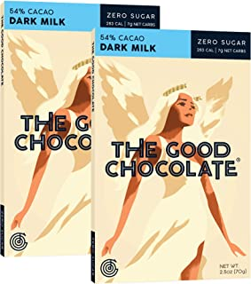 The Good Chocolate Zero Sugar 54% Dark Milk Chocolate Bars, Organic, Keto Friendly, Low Carb, Sugar Free Snacks and Treats, 2.5 Ounce Bars (2 Pack)