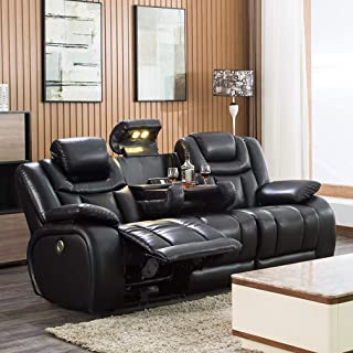 Reclining Sofa Home Theater Seating Power Sofa Theater Recliner Sectional Sofa with Adjustable Headrests and Storage,Fold-Down Table,AC/USB and Cup Holders