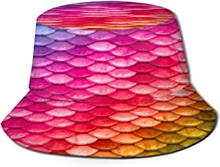 Fisherman Hat Colorful Mermaid Scale Bucket Hat Unisex 3D Printed Packable Bonnie Cap UV Protect Lightweight Sun Hat for Picnic Hunting Fishing Golf Hiking