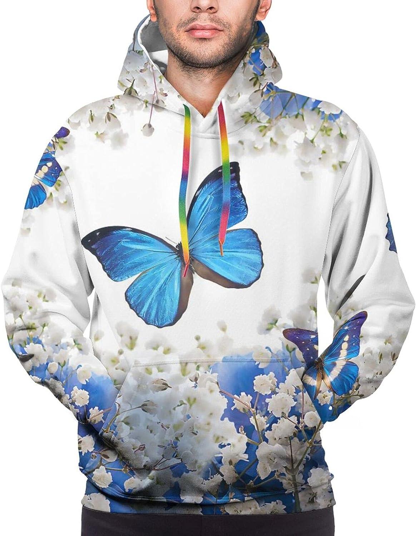 Hoodie For Men Women Unisex Flowers Butterflies Blue 3d Printed Hooded Sweatshirt
