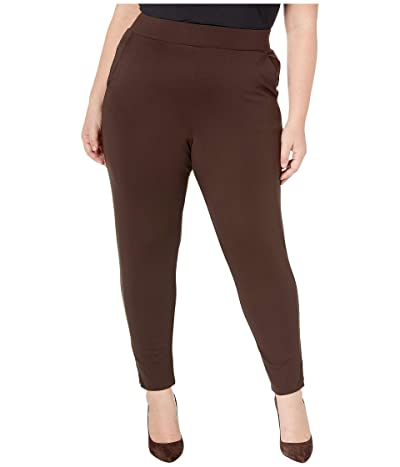 HUE Plus Size Ponte 7/8 Leggings (Espresso) Women