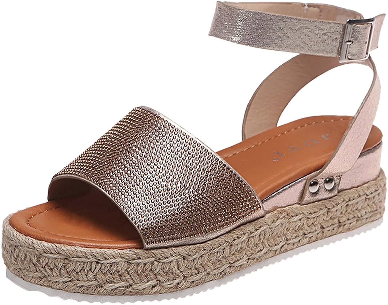 Women Espadrilles Platform Wedges Heel Lace Up Sandals Elegant Floral Classic Ankle Strap Shoes