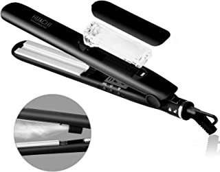 Steam Hair Straightener Huachi Flat Iron Vapor Ceramic Plate Fast Heat Up for Silky Smooth Hair, Professional Travel Hair Straightening Iron Dual Voltage 100/240V, 1 Inch