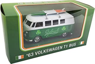 Carrolls Irish Gifts 1963 Volkswagen T1 Model Bus with Ireland Design and a Surfboard on the Roof