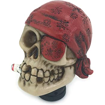 Red Lunsom Skull Stick Car Knob Pirate Theme Shifter Transmission Shift Stick Handle Shifting Head Fit Universal Automatic Manual Vehicle