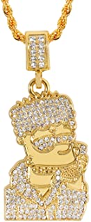 Men's 18K Gold Plated CZ Fully Iced Out Cartoon 316L Stainless Steel Pendant