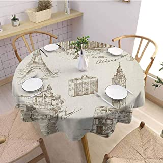 Travel Washable Round Tablecloth Sketch Art Collection of Travel Over European Landmarks and Vintage Style Suitcase Dinner Picnic Home Decor D63 Inch Round Brown Cream
