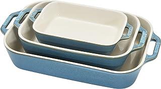 Staub Ceramic Baking Dish Set, 3pc, Rustic Turquoise