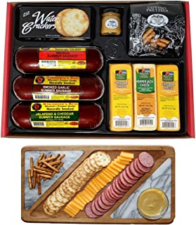 WISCONSIN'S BEST & WISCONSIN CHEESE COMPANY'S Gourmet Basket -Naturally Smoked Summer Sausages, 100% Wisconsin Cheeses, Cr...