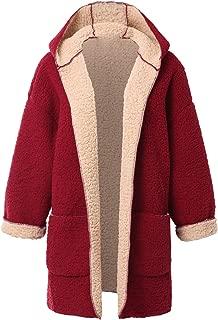Choies Women's Open Front Faux Fur Coat Reversible Long Shearling Hooded Coat(Beige/Black/Navy/Burgundy)