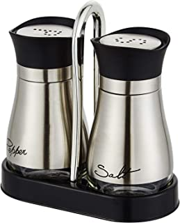 Salt and Pepper shakers Set with Tray, Stainless Steel with Glass Bottle (Set of 2)