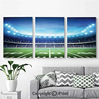 Wall Art Decor 3 Pcs High Definition Printing Photo of American Stadium Green Grass Arena Playground Bleachers Event Match Painting Home Decoration Living Room Bedroom Background,16
