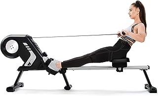 Daverose Fällbar roddmaskin med magnetisk motstånd, LCD-skärm, halkfria pedaler och transporthjul för hemmagym grå