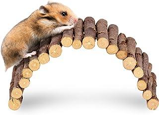 andwe Apple Twig Ladder Wooden Fun Bridge for Hamster Rats Sugar Gliders Mice Gerbils - Pet Cage Toys Habitat Decor