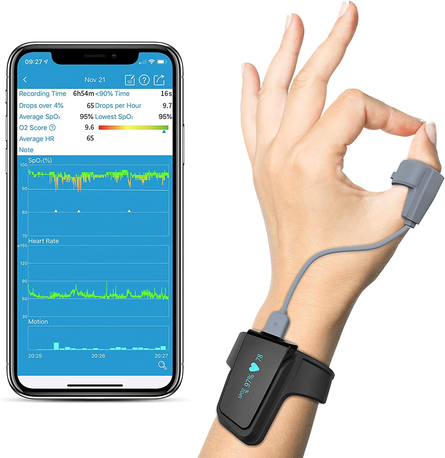 Wellue Wrist Wearable Sleep Monitor - Bluetooth Pulse Meter Health Tracker | Overnight O2 Saturation Level and Heart Rate, Smart Vibration & Audio Alert, Finger Ring with Free APP & PC Report